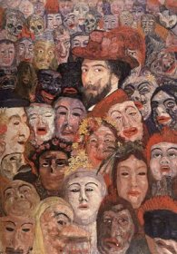 James Ensor -autoportrait aux masques - 1895 - 118 x 83 cm